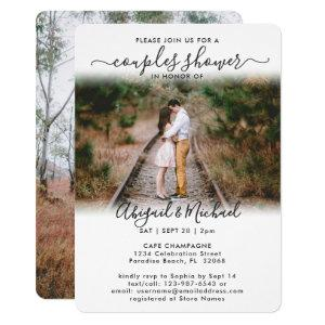 2 Photo Couples Bridal Shower Chic Modern Script Invitation starting at 2.65