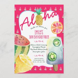 30th Tropical Fruit Birthday Luau Party Invite starting at 2.51
