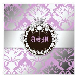 311-Damask Shimmer Queen Sweet Sixteen Purple Invitation starting at 2.46