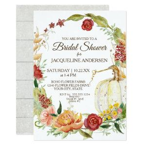 5x7 Bridal Shower Fall Floral Wreath White Pumpkin Invitation starting at 2.66