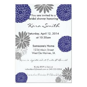 5x7 Navy Blue & Grey Bridal Shower Invitation starting at 2.51