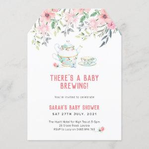 A baby brewing Invitation, high tea baby shower Invitation starting at 2.60