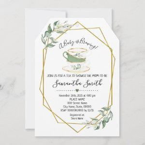 A Baby is brewing tea greenery shower invitation starting at 2.61
