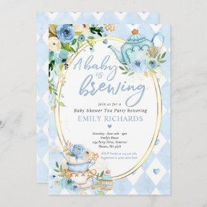 A Baby Is Brewing Tea Party Baby Shower Blue Roses Invitation starting at 2.61