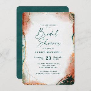 Abstract Dark Teal & Copper Fall Bridal Shower starting at 2.40