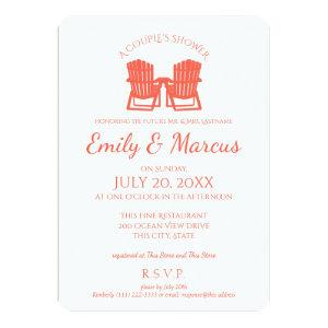 Adirondack Chairs Coral Couple's Shower Invitation starting at 2.81