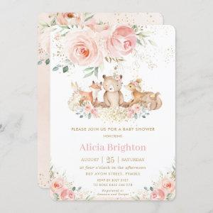 Adorable Woodland Blush Floral Girly Baby Shower Invitation starting at 2.60