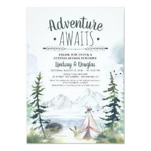 Adventure Awaits Mountains Camping Couples Shower Invitation starting at 2.56