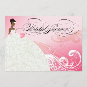 AFRICAN AMERICAN BRIDE Bridal Shower   baby pink Invitation starting at 2.66