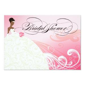 AFRICAN AMERICAN BRIDE Bridal Shower | baby pink Invitation starting at 2.66