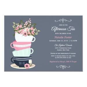 Afternoon Tea Bridal Shower Invitation | Blue Pink starting at 2.36