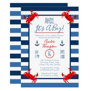 Ahoy It's A Boy Crab Nautical Theme Baby Shower Invitation starting at 2.40