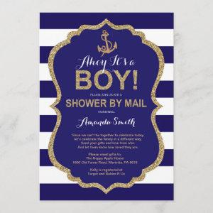 Ahoy it's a Boy! Nautical Baby Shower by mail Invitation starting at 2.35