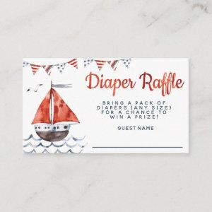 Ahoy It's A Boy Nautical Baby Shower Diaper Raffle Enclosure Card starting at 0.30