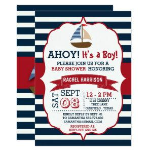 Ahoy It's A Boy! Nautical Boat Baby Shower Invites starting at 2.51