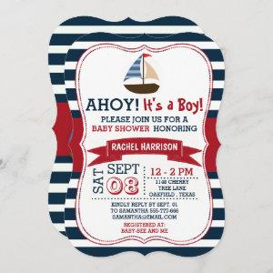 Ahoy It's A Boy! Nautical Boat Baby Shower Invites starting at 2.70
