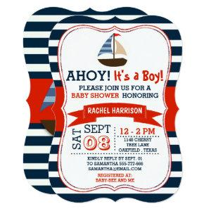 Ahoy It's A Boy! Nautical Boat Baby Shower Invites starting at 2.76