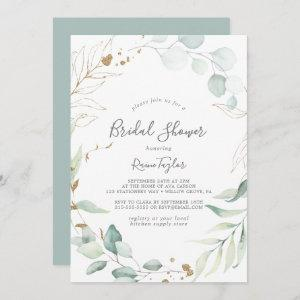 Airy Greenery and Gold Leaf Bridal Shower Invitation starting at 2.51