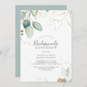 Airy Greenery and Gold Leaf Bridesmaids Luncheon Invitation starting at 2.51