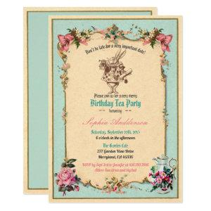 Alice in Wonderland birthday party invitation teal starting at 2.45