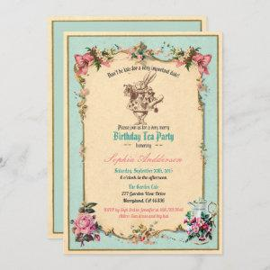 Alice in Wonderland birthday party invitation teal starting at 2.25