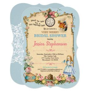 Alice in Wonderland bridal shower invitaion blue Invitation starting at 2.70