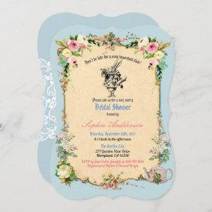 Alice in Wonderland bridal shower invitation blue starting at 2.50