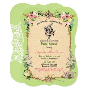 Alice in Wonderland bridal shower invitation green starting at 2.70