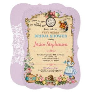 Alice in Wonderland bridal shower invitation lilac starting at 2.70