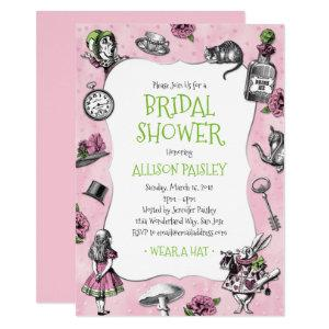 Alice in Wonderland Pink and Green Bridal Shower Invitation starting at 2.40
