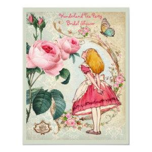 Alice in Wonderland Roses Collage Bridal Shower Invitation starting at 2.31