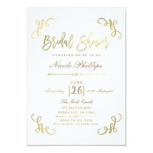 All Gold Faux Foil Bridal Shower Script Type Invitation starting at 2.66