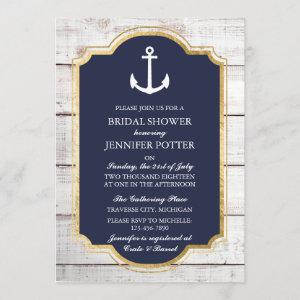 Anchored In Love Rustic Nautical Bridal Shower Invitation starting at 2.45