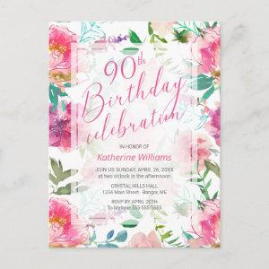 Any Age Tropical Floral Pink Peony 90th Birthday Invitation Postcard starting at 1.70