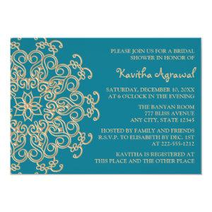 AQUAMARINE BLUE  and Gold Indian Bridal Shower Invitation starting at 2.66