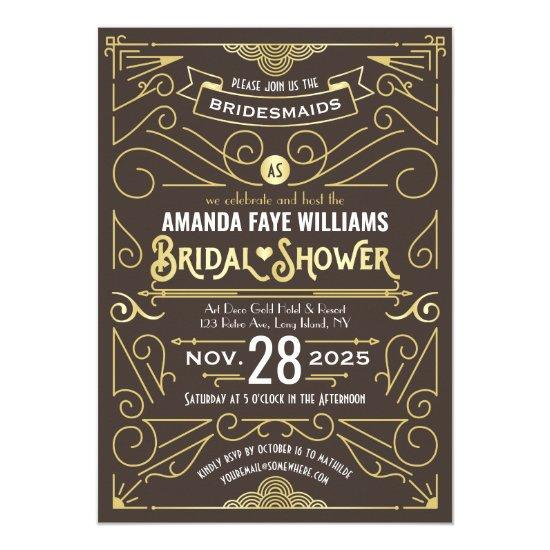 Art Deco Bridal Shower Elegant Gold Chocolate Invitation