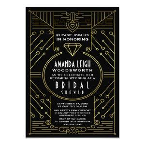 Art Deco Vintage Gold Bridal Shower Invitations starting at 2.55