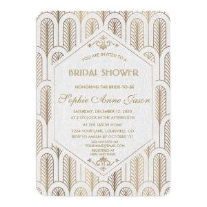 Art Deco White Gold Bridal Shower Invitation starting at 2.40