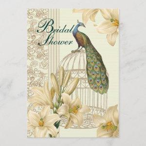 art nouveau  french lily vintage birdcage peacock invitation starting at 2.77