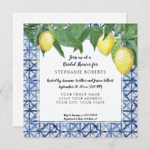Asian Blue and White w Lemon Branch Bridal Shower Invitation starting at 2.51