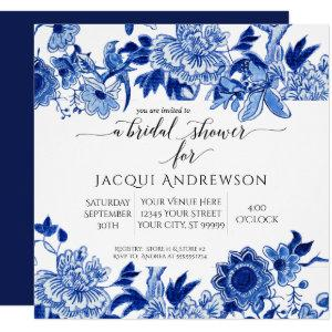 Asian Influence Blue White Floral |Bridal Shower Invitation starting at 2.30