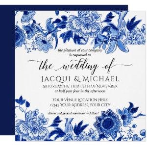 Asian Influence Blue White Floral Wedding Artwork Invitation starting at 2.30