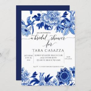 Asian Influence Floral Blue White Bridal Shower In Invitation starting at 2.40