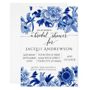 Asian Influence White Blue Floral Bridal Shower Invitation starting at 2.40