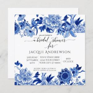 Asian Influence White Blue Floral |Bridal Shower Invitation starting at 2.30