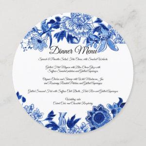 Asian Influence White Blue Floral Dinner Menu Invitation starting at 2.55