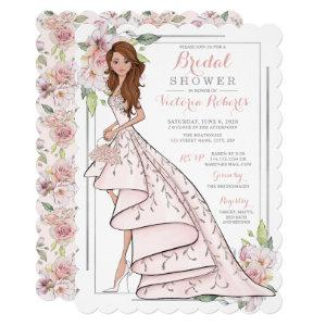 Auburn Bride in Gown Bridal Shower Invitation starting at 2.65