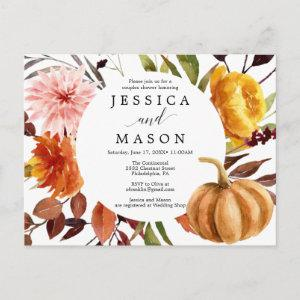 Autumn Bliss Couples Shower Invitation Postcard starting at 1.10