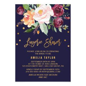 Autumn Floral with Wreath Backing Lingerie Shower Invitation starting at 2.26