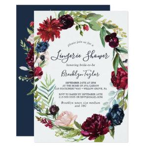 Autumn Garden | Burgundy Wreath Lingerie Shower Invitation starting at 2.26